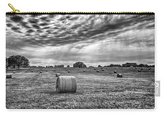 Carry-all Pouch featuring the photograph The Hay Bails by Howard Salmon