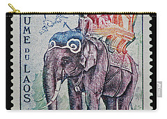 Carry-all Pouch featuring the photograph The King's Elephant Vintage Postage Stamp Print by Andy Prendy