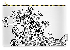Carry-all Pouch featuring the drawing The King's Horse - Zentangle by Jani Freimann