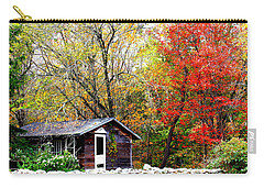Carry-all Pouch featuring the photograph The Little Country Cottage by Dora Sofia Caputo Photographic Art and Design