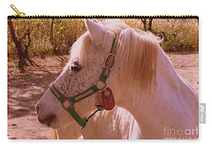 Carry-all Pouch featuring the photograph The Little White Pony by Dora Sofia Caputo Photographic Art and Design