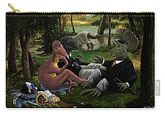 Carry-all Pouch featuring the painting The Luncheon On The Grass With Dinosaurs by Martin Davey