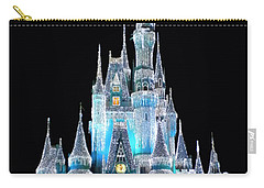 The Magic Kingdom Castle In Frosty Light Blue Walt Disney World Carry-all Pouch by Thomas Woolworth