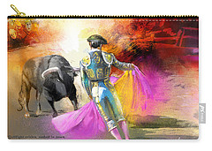 The Man Who Fights The Bull Carry-all Pouch by Miki De Goodaboom