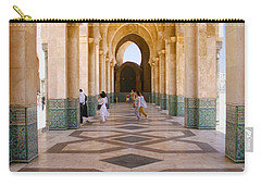 Carry-all Pouch featuring the photograph The Massive Colonnades At The Hassan II Mosque Sour Jdid Casablanca Morocco by Ralph A  Ledergerber-Photography