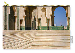 Carry-all Pouch featuring the photograph The Massive Colonnades Leading To The Hassan II Mosque Sour Jdid Casablanca Morocco by Ralph A  Ledergerber-Photography