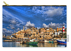 Carry-all Pouch featuring the photograph the old Jaffa port by Ron Shoshani