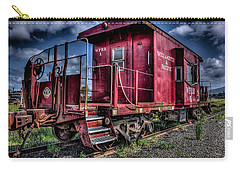 Carry-all Pouch featuring the photograph Old Red Caboose by Thom Zehrfeld
