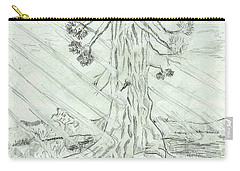 Carry-all Pouch featuring the drawing The Old Tree In Spring Light  - Sketch by Felicia Tica