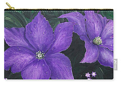 Carry-all Pouch featuring the painting The President Clematis by Sharon Duguay