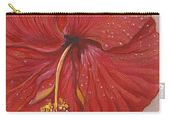 The Red Hibiscus In Dew Time Carry-all Pouch by Carol Wisniewski