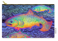 Carry-all Pouch featuring the mixed media The Salmon King by Teresa Ascone