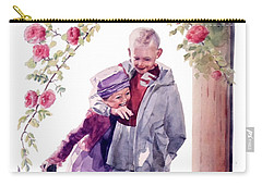 Watercolor Of A Boy And Girl In Their Secret Garden Carry-all Pouch