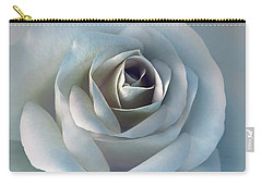 The Silver Luminous Rose Flower Carry-all Pouch