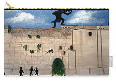 Carry-all Pouch featuring the painting The  Western Wall And Fiddler On The Roof by Nora Shepley