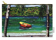 Carry-all Pouch featuring the painting The Yellow And Red Boat by Laura Forde