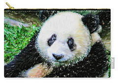 Carry-all Pouch featuring the painting Thinking Of David Panda by Lanjee Chee