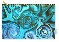 Turquoise Swirls Carry-all Pouch by Susan Carella