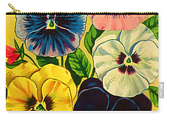 Pansy Flowers Antique Packaging Label  Carry-all Pouch
