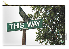 Carry-all Pouch featuring the photograph This Way Street Sign In Color by Connie Fox