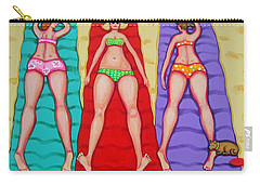 Three Bathing Beauties And Buster Carry-all Pouch by Rebecca Korpita