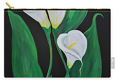 Carry-all Pouch featuring the painting Three Calla Lilies On Black by Janice Rae Pariza