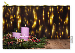 Three Candles In An Advent Flower Arrangement Carry-all Pouch