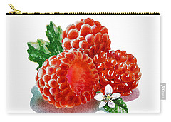 Three Happy Raspberries Carry-all Pouch by Irina Sztukowski