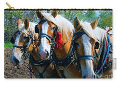 Carry-all Pouch featuring the photograph Three Horses Break Time  by Tom Jelen