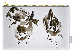 Three Little Birds Perch By My Doorstep Carry-all Pouch by Beverley Harper Tinsley