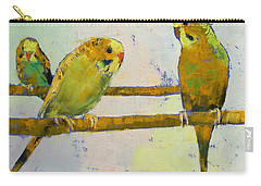 Three Parakeets Carry-all Pouch by Michael Creese
