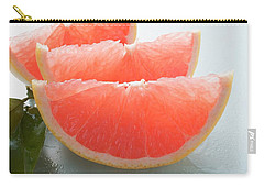 Three Pink Grapefruit Wedges, Leaves Beside Them Carry-all Pouch