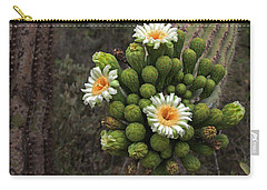 Three Saguaro Blossoms And Many Buds Carry-all Pouch