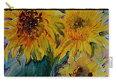 Three Sunflowers Carry-all Pouch by Beverley Harper Tinsley