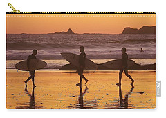 Three Surfers At Sunset Carry-all Pouch