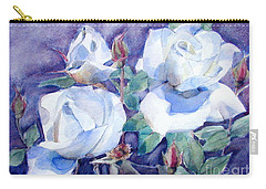 White Roses With Red Buds On Blue Field Carry-all Pouch
