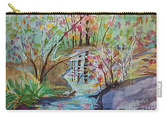 Carry-all Pouch featuring the painting Thunder Mountain Mystery by Ellen Levinson