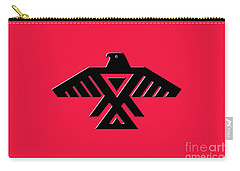 Thunderbird Emblem Of The Anishinaabe People Black On Red Version Carry-all Pouch