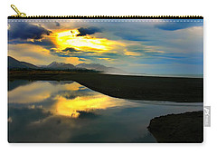 Carry-all Pouch featuring the photograph Tidal Pond Sunset New Zealand by Amanda Stadther