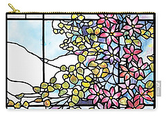 Stained Glass Tiffany Floral Skylight - Fenway Gate Carry-all Pouch by Donna Walsh