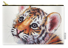 Tiger Cub Watercolor Painting Carry-all Pouch by Olga Shvartsur