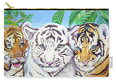Carry-all Pouch featuring the painting Tiger Cubs by Thomas J Herring