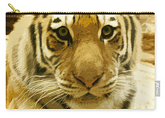 Carry-all Pouch featuring the digital art Tiger Eyes by Erika Weber