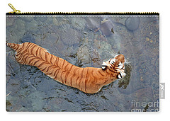 Carry-all Pouch featuring the photograph Tiger In The Stream by Robert Meanor