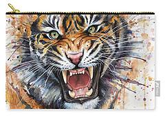 Tiger Watercolor Portrait Carry-all Pouch by Olga Shvartsur