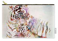 Tiger With Cub Watercolor Carry-all Pouch by Marian Voicu
