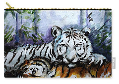 Carry-all Pouch featuring the painting Tigers-mother And Child by Harsh Malik