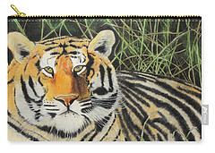 Carry-all Pouch featuring the painting Tigress by Jeanne Fischer