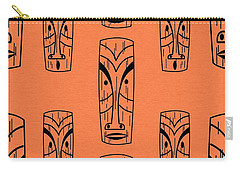 Tiki On Orange Pillow Carry-all Pouch