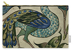 Tile Design Of Heron And Fish Carry-all Pouch by Walter Crane